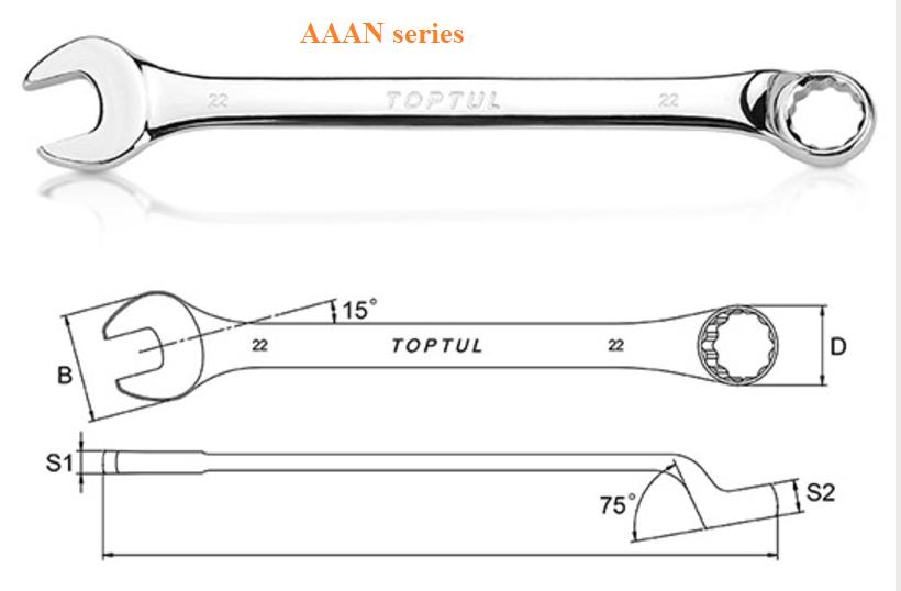 Cờ lê vòng miệng nghiêng 75° TOPTUL AAAN series