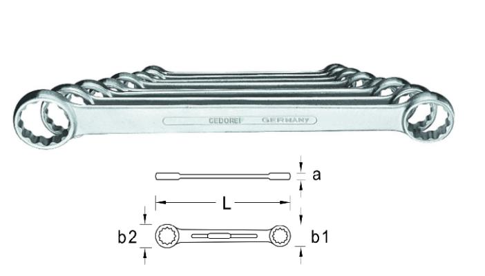 Bộ cờ lê 2 đầu tròng từ 6x7 đến 20x22mm Gedore 4-8